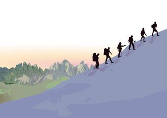 Bergwandern in der Gruppe