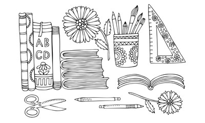 School aids on a desk. Table desk with books, pencils, scissors and flowers. Hand drawn picture. Sketch for anti-stress adult coloring book in zentangle style. Vector illustration for coloring page.
