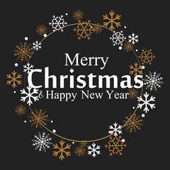 Merry Christmas lettering with golden and silver ornaments and wreath decoration of stars, snowflakes. happy new year