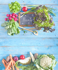 organic food,  vegetables and herbs, free copy space