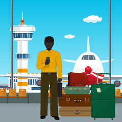 African American Man with Luggage Waiting for Boarding a Plane, View through the Window at the Runway with Plane and Control Tower, Travel Concept, Vector Illustration
