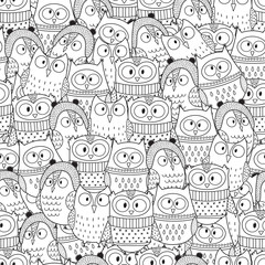 Owls in winter seamless pattern for coloring book. Black and white background. Vector illustration