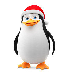 Penguin in a red hat on a white background. 3d render illustration. New Year.