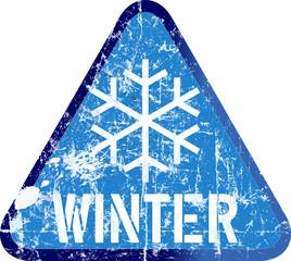 Winter warning sign, vector illustration