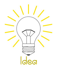 Vector illustration. A glowing incandescent light bulb. The inscription is an idea. Linear Art. The icon. Electrical Appliance.