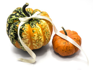 Two whole colorful pumpkins (one spotty green yellow, one orange) with a champagne bow isolated on white background.