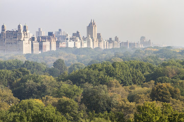 New York City foggy panoramic landscape view of the historic buildings of the Upper West Side towering above the trees of Central Park in Manhattan, NYC