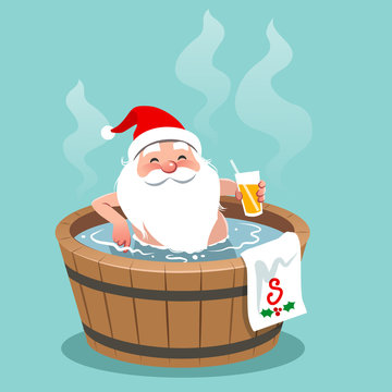 Vector cartoon illustration of Santa Claus sitting in a wooden barrel hot tub, holding glass of orange juice. Christmas theme design element, flat contemporary style, isolated on aqua blue