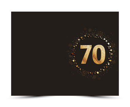 70 years anniversary decorated greeting / invitation card template with golden elements.