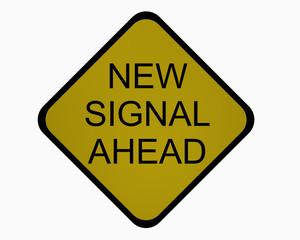 Verkehrsschild USA (Michigan): Ankündigung einer neuen Ampel, auf weiß isoliert