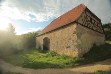 Historic half timbered barn in Pfaffenhofen, Upper Palatinate, Germany