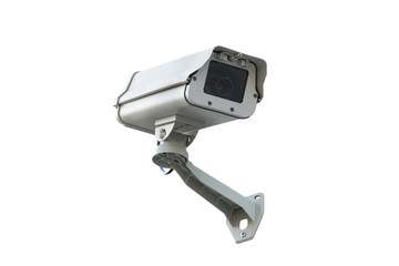 Surveillance camera, isolated white background..Security infrared camera in housing protection with arm holder , front view.