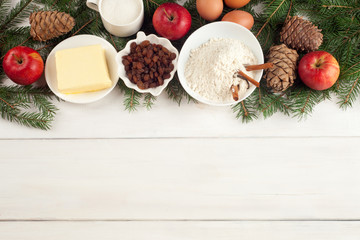 set of ingredients for Apple pie on a white background. Copy space. Top view. Flat lay
