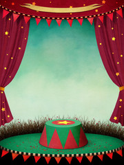 Fantasy illustration or poster for  performance  theatre or  circus  with curtains and  podium.