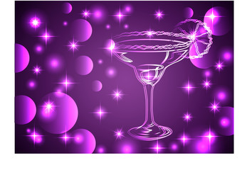 Golden outline of glasses with a cocktail on a pink background with stars and lights, disco, club, neon glow