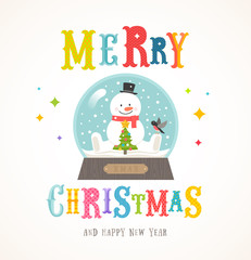 Cartoon flat style colorful Christmas vector illustration. Snowman with christmas tree and bullfinch inside snowglobe.