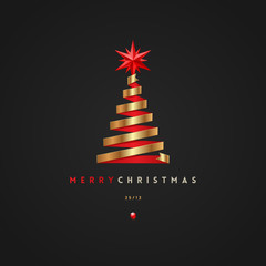 Christmas greeting card - golden ribbon in the shape of christmas tree with red star. Vector illustration.