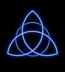 Bright Trinity symbol made from blue light