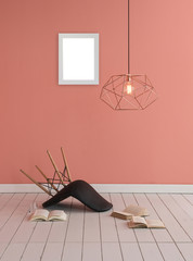 decorative part of home objects like chair frame and lamps with book concept
