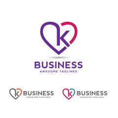 Letter k heart logo icon design template elements,elegant letter k with heart outlines logo vector