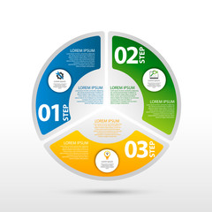 Modern vector illustration 3D. The template of a circular infographic with three elements, sectors and percentages. Designed for business, presentations, web design, diagrams with 3 steps