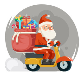 Bag Gift Box Santa Claus Delivery Courier Scooter Symbol Box Icon Concept Isolated Cartoon Flat Design Vector Illustration