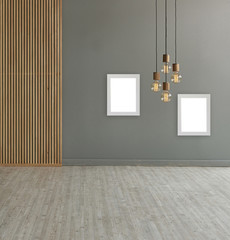 modern room concept grey background and decorative lamp style