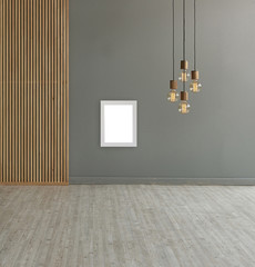 grey wall white frame decorative lamp and paravane