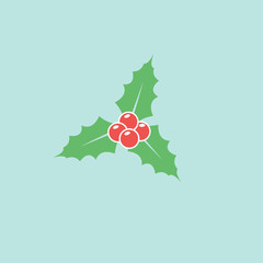 Holly berry leaves flat vector