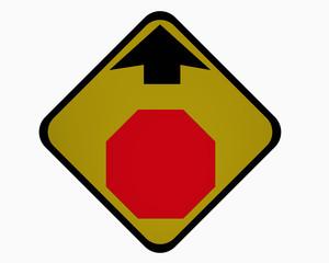 Verkehrsschild USA: Ankündigung für Halt! Vorfahrt gewähren, auf weiß isoliert
