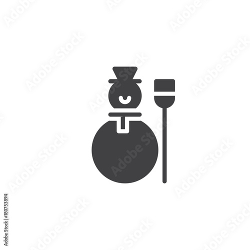 Snowman Icon Vector Filled Flat Sign Solid Pictogram Isolated On