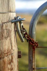 A rusty cattle lock fence at the cattle farm