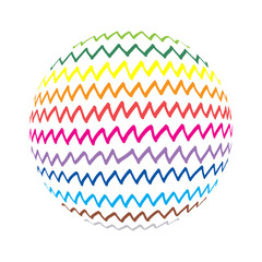 Abstract shape with colorful zigzag lines pattern