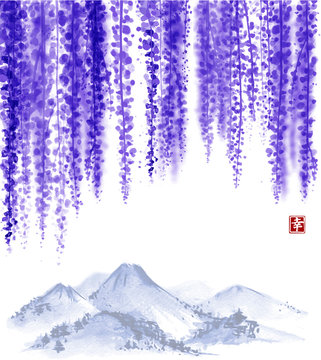 Wisteria blossom and far mountains. Traditional oriental ink painting sumi-e, u-sin, go-hua. Contains hieroglyph - happiness.