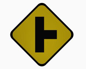 Verkehrszeichen USA : Nebenstraße im rechten Winkel, auf weiß isoliert, 3d rendering