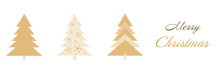 Christmas time. Christmas card with three trees in golden colors. Text : Merry Christmas.