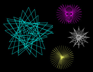 Abstract geometric shapes of lines. Vector outline illustration. Sacred geometry.