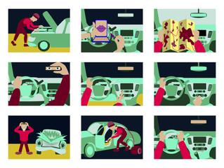 Set of illustrations car from inside