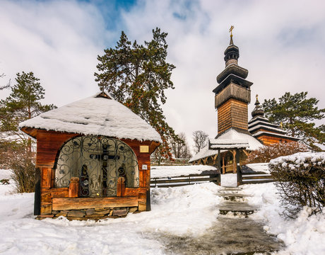 old orthodox wooden church in winter. location Museum of Folk Architecture and Life, Uzhgorod.
