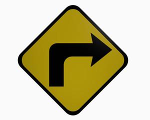 Verkehrszeichen USA : Rechts abbiegen, auf weiß isoliert
