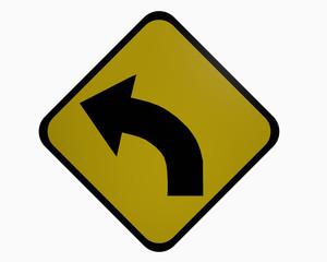 Verkehrszeichen USA: Kurve links, auf weiß isoliert, 3d rendering