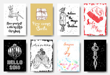 Set of 8 creative holiday cards. Christmas posters. Templates for greeting, congratulations, invitations, magazine. Merry Little Christmas, Here comes Santa, Believe in the magic, Hello 2018. Vector.