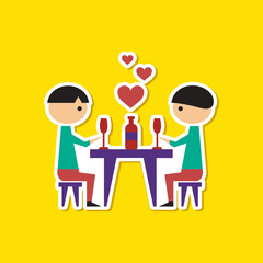 paper sticker on stylish background of gays romantic dinner