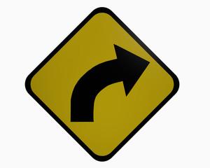 Verkehrszeichen USA: Kurve rechts, auf weiß isoliert, 3d rendering