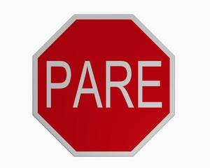 Verkehrszeichen USA (Puerto Rico): Stoppschild, auf weiß isoliert, 3d rendering