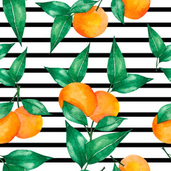 Watercolor seamless pattern with oranges and green leaves
