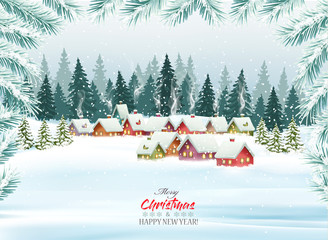 Photo sur Plexiglas Bleu clair Holiday Christmas background with a village and trees. Vector.