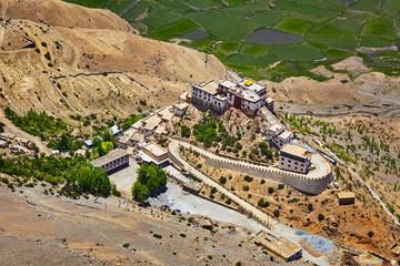 Fototapete - Aerial view of Ki Gompa monastery, Spiti Valley, Himachal Prades