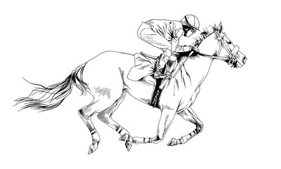 jockey on a galloping horse painted with ink by hand on a white background