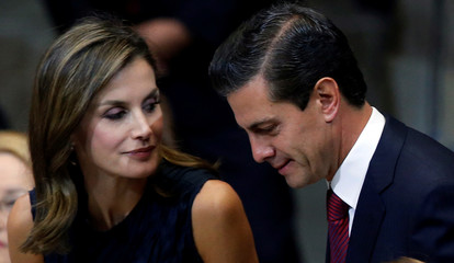 Spain's Queen Letizia Ortiz and Mexico's President Enrique Pena Nieto are pictured during the opening of the the World Cancer Leaders' Summit in Mexico City